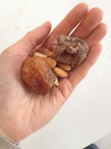 Raw Almonds, raw cashews, dates and dried figs