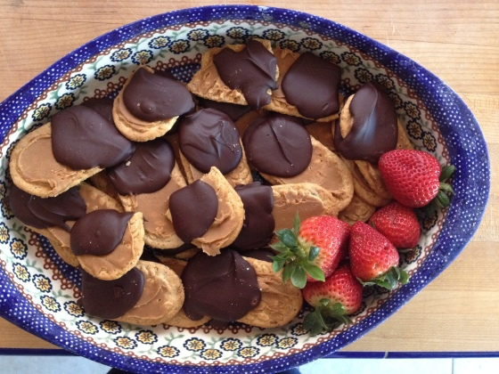 Biscuits topped with cookie butter and dipped in chocolate