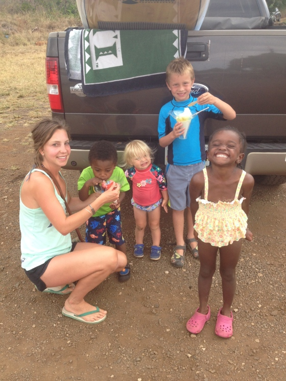 Trying Hawaiian shaved ice was a new experience and certainly an easy way to win over the kids to trying new foods!